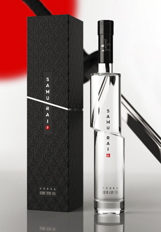 Samurai Vodka - Russian designer Artur Schreiber made this package and bottle look like it was cut in two by a samurai sword. However it's only a concept, no vodka destiller has been using it yet.