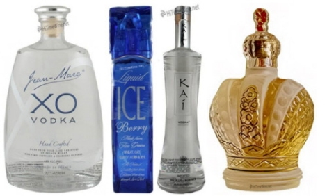 1 - Jean Marc XO vodka - France - Four particular kinds of wheat are selected and separated from the chaff (to eliminate any hint of bitterness!) to be fermented and then distilled nine times in an Alembic Pot Still, micro-oxygenated, diluted with pure Gensac spring water and finally filtered through Limousine Oak Charcoal.  2 - Liquid Ice Vodka - USA - Handcrafted by Silver Creek Distillery in Rigby, Idaho it is a multi-grain distilled, certified USDA organic vodka. Water comes from a Snake River aquifer; and the corn, barley, wheat, oats and rye are from certified organic farms. Liquid Ice is sculpted in glass, shaped like a tower changing form from solid to liquid. The bottle infuses light like a prism, creating a unique one of a kind form of artwork. The top, is eco-friendly, reusable and crystal like, once removed it becomes a chilling glass for the perfect drink. 3 - Kai Vodka - Vietnam - A bright and complex nose with hints of sweet spice, vanilla, and tropical aromas. Handcrafted in Vietnam, Kai Vodka is distilled from rare Yellow-Blossom Rice that is grown in small villages along North Vietnam's Red River Delta. Kai Vodka is handcrafted in small batches using techniques that have been handed down for over 6 centuries.  4 - Regalia Gold - Russian vodka matured for six months in vats lined with white gold. Smells of glass, sand and grain. The palate entry is sweet, waxy and quite delicious; at mid-palate there's a thrust of minerals, wheat and a leanness that's crisp, acidic and very refreshing.