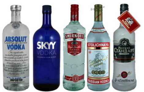 The world's biggest vodka brands, trying to elevate their simple bottle design to iconic heights.  1 - Absolut - Sweden - This Swedish Vodka is now the number one selling vodka in the world. Introduced in 1879 as an absolutely pure vodka which used a new distilling process called rectification. The clear bottle is styled after an old Swedish medicine bottle. Made from locally grown wheat and well-water from the town of Ahus in southern Sweden. Smooth and light-bodied with some liquorice flavours.  2 - SKYY - USA - Inventor and entrepreneur Maurice Kanbar created SKYY Vodka in 1988. The cobalt blue bottle was introduced in 1993, switching from the clear glass bottle it was first sold in. SKYY Vodka also had a promise when it came out, hangover free.  3 - Smirnoff - USA - One of the world's leading premium vodkas, is now owned and produced by the British company Diageo. The Smirnoff brand began with a vodka distillery founded in Moscow by Pyotr Arsenievich Smirnov (1831-1898), the son of illiterate Russian peasants. It is now distributed in 130 countries. 4 - Stoli - Russia - Three key elements distinguish Stolichnaya from its imitators. First, it is distilled from superior winter wheat rather than lesser grains like corn. Second, it is made with only the purest, softest glacial water rather than processed water. Third, it is put through an elaborate, time-consuming double-distillation process that requires quartz and activated charcoal filtration. The result is a vodka of spectacular smoothness and clarity that outshines all others when served straight in the Russian tradition.  5 - Russian Standard Original is recognized throughout its native homeland as the ultimate benchmark for all Russian vodkas. Conforming to Professor Mendeleev's original formula, it is a superbly smooth spirit with a pure taste that maintains the characteristic bread flavour of traditional Russian vodka. The unique shape of its specially textured bottle reflecting the depth of the product's Russian personality is inspired by the 200 tonne bell commissioned by Tsarina Anna I, which stands at the foot of the Ivan the Great Bell Tower in Moscow. Featuring Dmitri Mendeleev's signature as a mark of its absolute authenticity and historic ancestry, Russian Standard Original's striking packaging presents a dramatic evocation of Russia's Imperial past and the culturally important place vodka holds in Russian life.