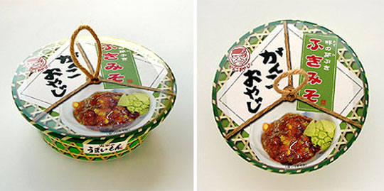 Package of fuki-miso, fermented soybean paste flavoured with Giant Butterbur, by Ganko Oyaji