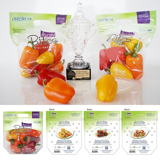 Aurora Bites Pure Flavor mini peppers and Beefsteak Slicer Tomatoes feature a QR code to connect the consumers to the company's Pure Kitchen Cooking Blog for more suggestive cooking options and recipes. Communication portals are also listed to enhance consumer communication.