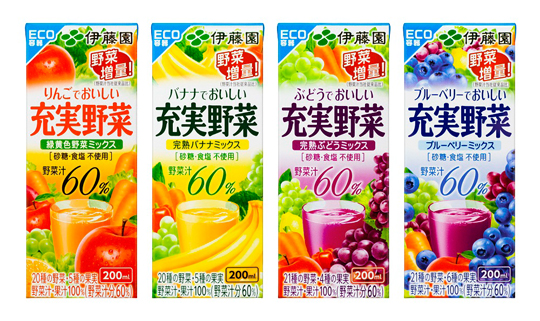 Four Renewed Products in the Ito En Jujitsu Yasai Series to Introduce the Non-Aluminum FujiPak Eco-Friendly Cartons