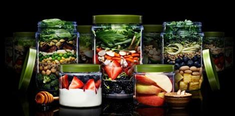 Farmer's Fridge salad layers in a plastic jar