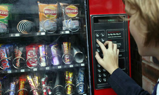 The traditional taste-less institutional (school, hospital, office) vending machine with the well-known unhealthy snacks