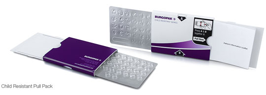 """Burgopak's child-resistant blister pack uses a pressure point locking system. Read about this design in my article """"Developments In Pharmaceutical Packaging"""""""