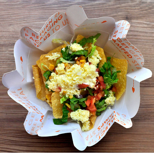 The Guactruck in Manila serves Mexican inspired Filipino rice dishes. Using only one piece of paperboard.